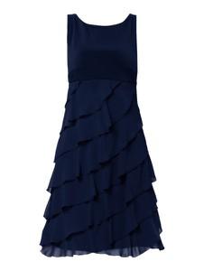 Niebieska sukienka Swing z szyfonu z okrągłym dekoltem