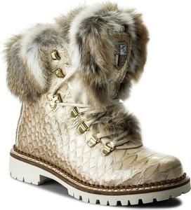 Beżowe trapery damskie new italia shoes na obcasie z nubuku