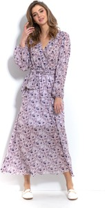 Fioletowa sukienka Fobya z dekoltem w kształcie litery v