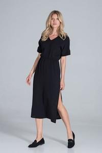 Czarna sukienka Figl z bawełny z dekoltem w kształcie litery v midi
