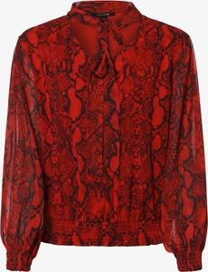 Czerwona bluzka comma, w stylu boho z długim rękawem ze sznurowanym dekoltem