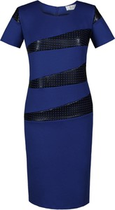 Niebieska sukienka Fokus mini z okrągłym dekoltem z krótkim rękawem