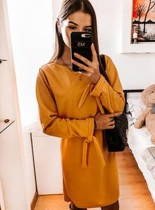 Sukienka Pakuten trapezowa mini z długim rękawem