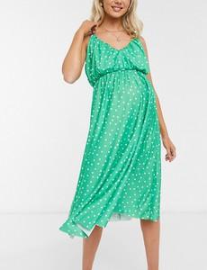ASOS DESIGN Maternity – Sukienka midi w kropki z głębokim dekoltem-Zielony