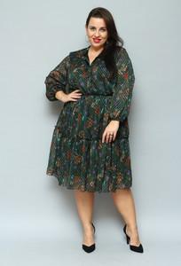 Sukienka KARKO z szyfonu dla puszystych z kołnierzykiem