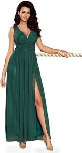 Zielona sukienka NUMOCO z dekoltem w kształcie litery v maxi