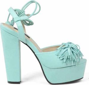 Turkusowe sandały Azure sznurowane na platformie