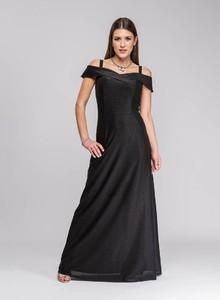 Czarna sukienka Semper z dekoltem w kształcie litery v maxi