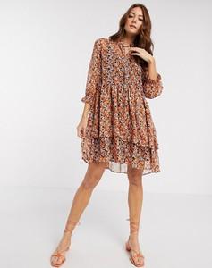 Brązowa sukienka Y.A.S mini koszulowa z szyfonu