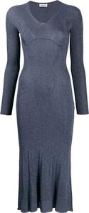 Niebieska sukienka Lanvin z długim rękawem