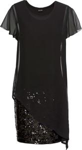 Sukienka bonprix BODYFLIRT z okrągłym dekoltem z krótkim rękawem w stylu glamour