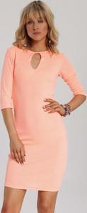 Pomarańczowa sukienka Renee dopasowana z długim rękawem mini