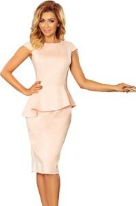 Różowa sukienka Moda Dla Ciebie ołówkowa z okrągłym dekoltem