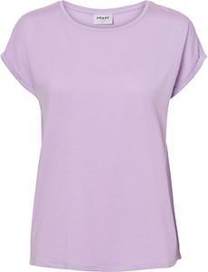 Fioletowy t-shirt Vero Moda w stylu casual z krótkim rękawem