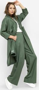 Zielony płaszcz Freeshion w stylu casual z tkaniny