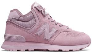 Różowe buty sportowe New Balance z płaską podeszwą ze skóry