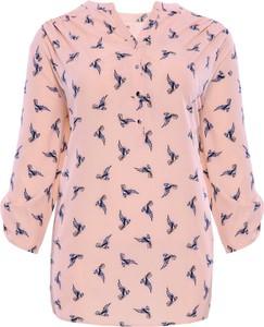 Różowa bluzka modneduzerozmiary.pl z długim rękawem