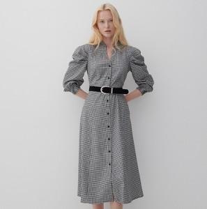 Sukienka Reserved z kołnierzykiem z długim rękawem