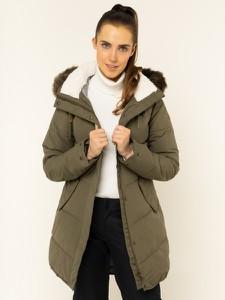 Zielona kurtka Roxy długa w stylu casual