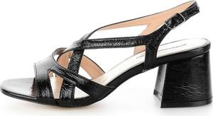 Czarne sandały Prima Moda na obcasie w stylu casual z klamrami