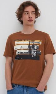 Brązowy t-shirt House z bawełny z krótkim rękawem
