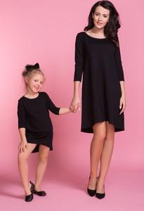 Czarna sukienka sukienki.pl z długim rękawem midi z bawełny