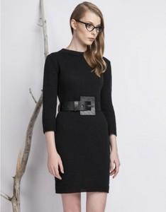 Czarna sukienka BIENKOVSKA z zamszu mini z długim rękawem