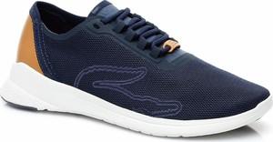 Niebieskie buty sportowe Lacoste w sportowym stylu ze skóry sznurowane