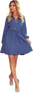 Niebieska sukienka NUMOCO z długim rękawem mini