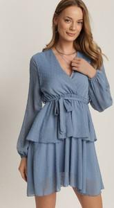 Niebieska sukienka Renee w stylu casual z długim rękawem mini
