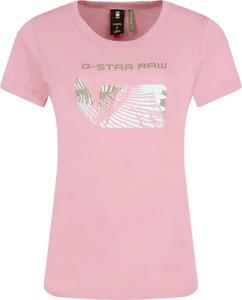 Różowy t-shirt G-Star Raw