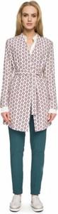Różowy płaszcz Style w stylu casual z tkaniny