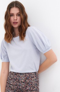 Bluzka Sinsay z krótkim rękawem w stylu casual z okrągłym dekoltem