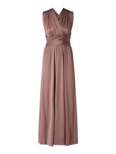 Różowa sukienka Vila maxi z satyny kopertowa