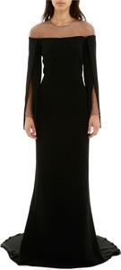 Czarna sukienka Stella McCartney z długim rękawem z jedwabiu maxi