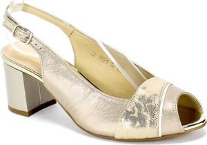 Złote sandały Gamis ze skóry z klamrami na średnim obcasie