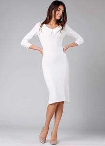 Sukienka Nommo midi dopasowana z długim rękawem