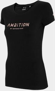 Czarny t-shirt 4F z okrągłym dekoltem z krótkim rękawem w sportowym stylu