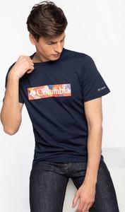 Niebieski t-shirt Columbia z krótkim rękawem w sportowym stylu