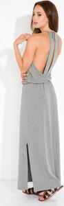 Srebrna sukienka Fimfi z dekoltem halter oversize maxi