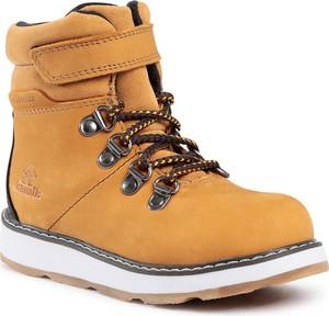 Brązowe buty dziecięce zimowe Kamik na rzepy