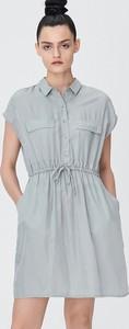 Turkusowa sukienka Sinsay z krótkim rękawem mini w stylu casual
