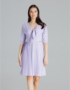 Fioletowa sukienka LENITIF z długim rękawem