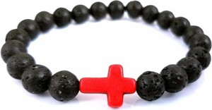 Męska bransoletka kamień naturalny lawa krzyż Estilo Sabroso ES05748