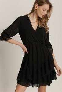 Czarna sukienka Renee z dekoltem w kształcie litery v z długim rękawem mini