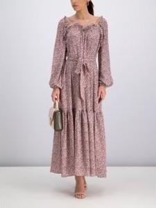 Sukienka Tory Burch z dekoltem w kształcie litery v z długim rękawem