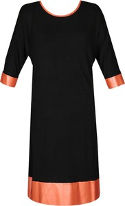 Czarna sukienka Fokus z długim rękawem midi z okrągłym dekoltem