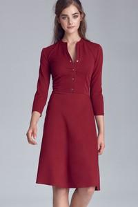 Czerwona sukienka Nife z dekoltem w kształcie litery v trapezowa midi
