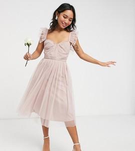 Różowa sukienka Anaya Petite z tiulu midi