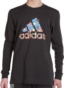 T-shirt Adidas z nadrukiem z długim rękawem